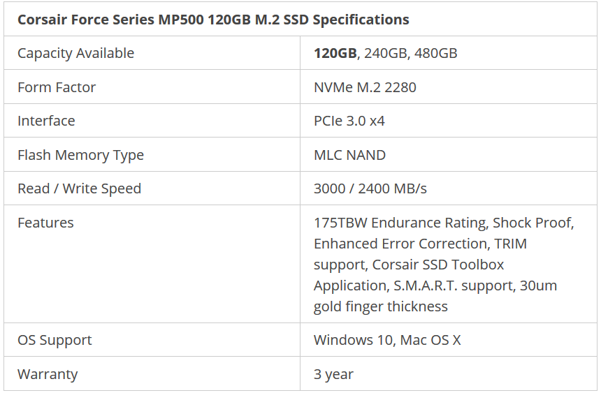 Corsair Force Series MP500 120GB M.2 SSD Specifications